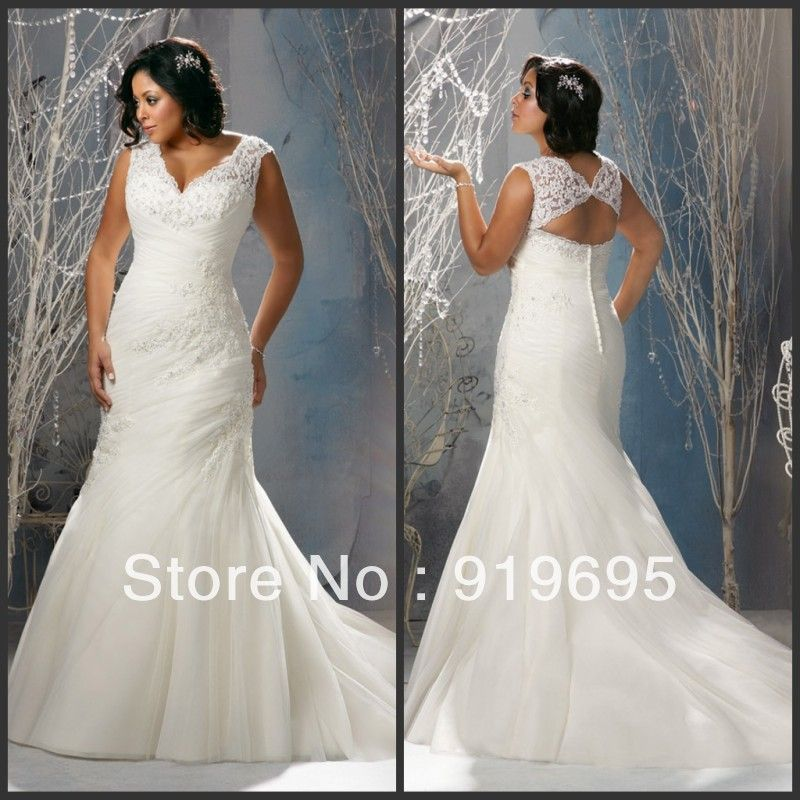 Lace full back wedding dress plus size google search for Wedding dress with swag sleeves