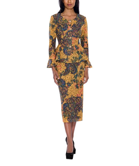 Yellow & Blue Abstract Skirt Suit - Plus