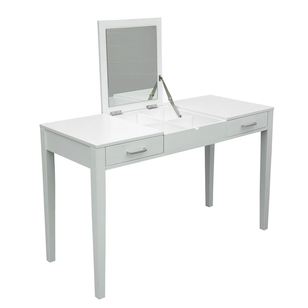 white desk vanity with mirror. Modern White Dressing Vanity Table Make Up Writing Desk w  Flip Mirror Storage