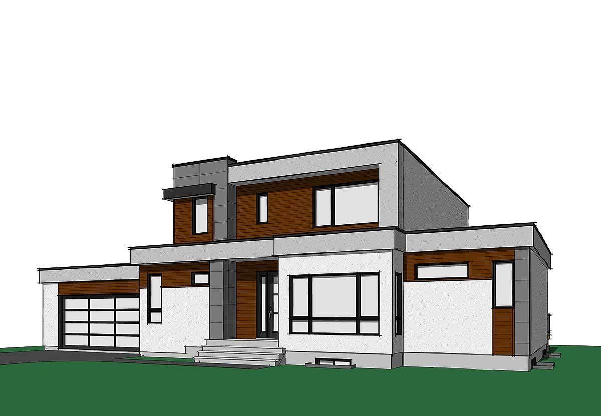 Plano de amplia casa de 2 plantas con 4 dormitorios y fachada moderna | Planos de casas