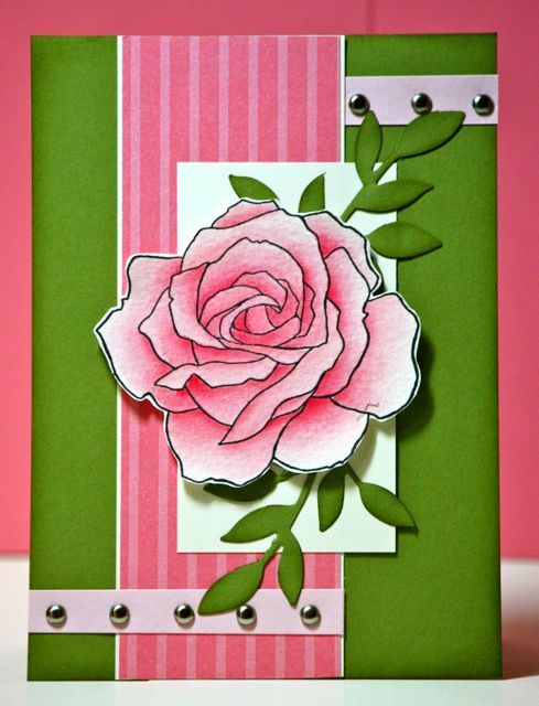 handmade card ... beautiful coloring of Manhattan Rose ... olive, rose and cream ... layered design ... Stampin' Up!