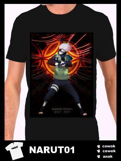 Kaos Naruto Keren warna hitam tersedia ukuran cowok dan cewek.