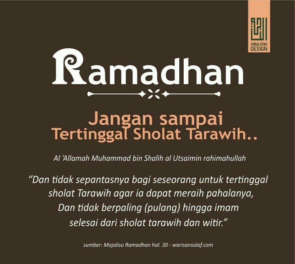 Ramadhan Jangan Sampai Tertinggal Sholat Tarawih Dengan Gambar