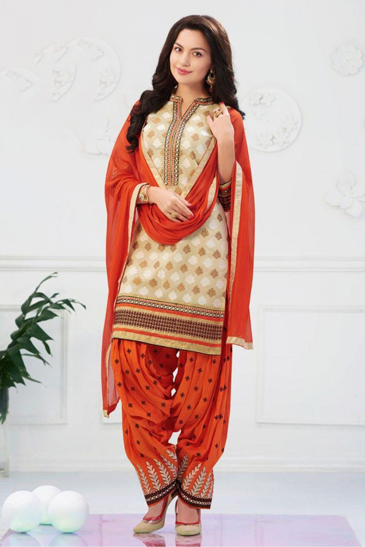 f1f5dcd65d Off White and Orange Colour Banarasi Jacquard Fabric Designer Unstitched  Patiala Salwar Kameez Comes With Matching Dupatta and Bottom Fabric. This  Suit Is ...