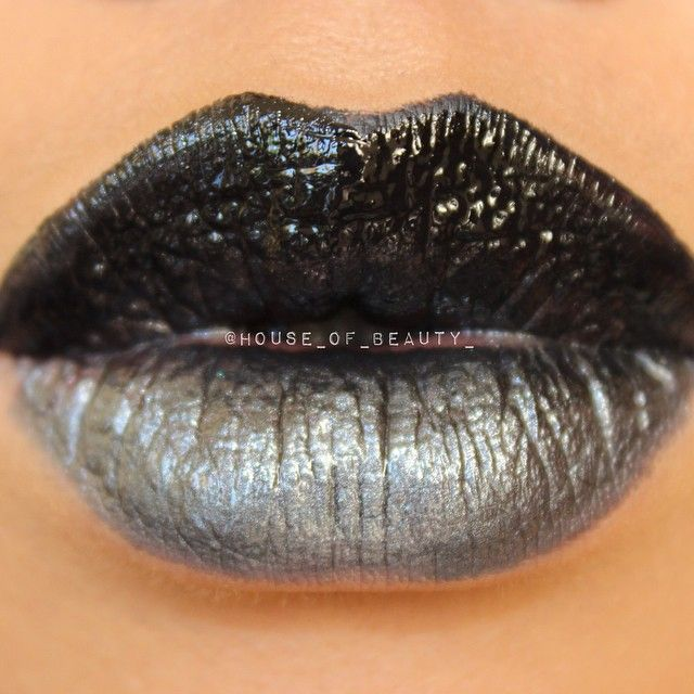 Ombre lips Using: TAR CITY on top (blackest black gloss