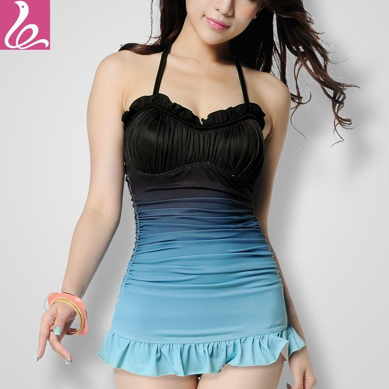 Menglan swimwear one-piece dress slim female swimwear push up steel small women's hot spring swimwear xxl
