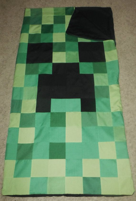 Free Shipping Minecraft Creeper Indoor Sleeping Bag By Sewingbyday 90 00