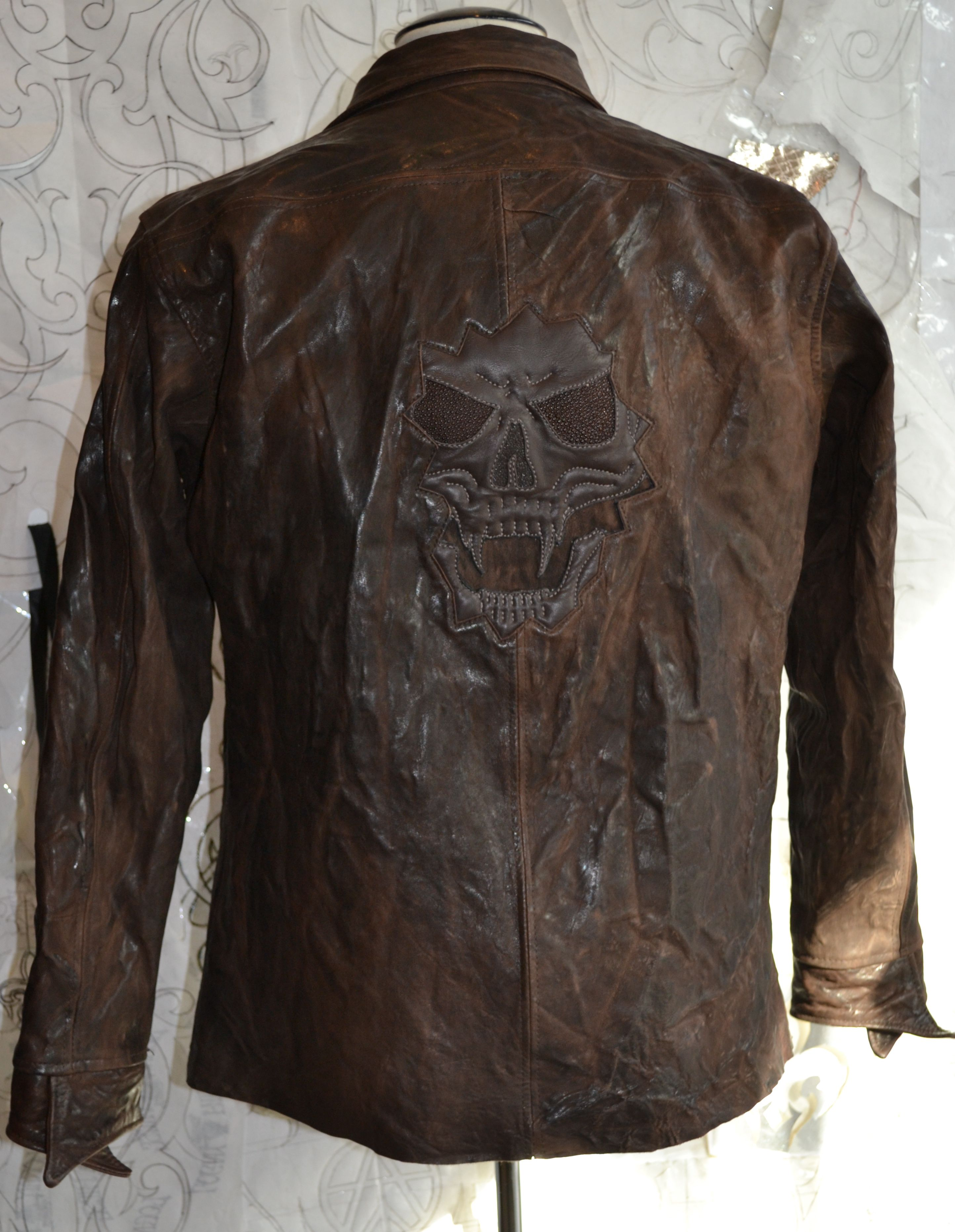 Dead River Brown Leather Jacket By Logan Riese For Sale