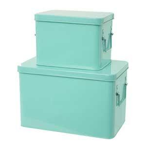 Boite De Rangement En Metal Par 2 4 Coloris Living Kitchen Boite De Rangement Rangement Metal Malle De Rangement