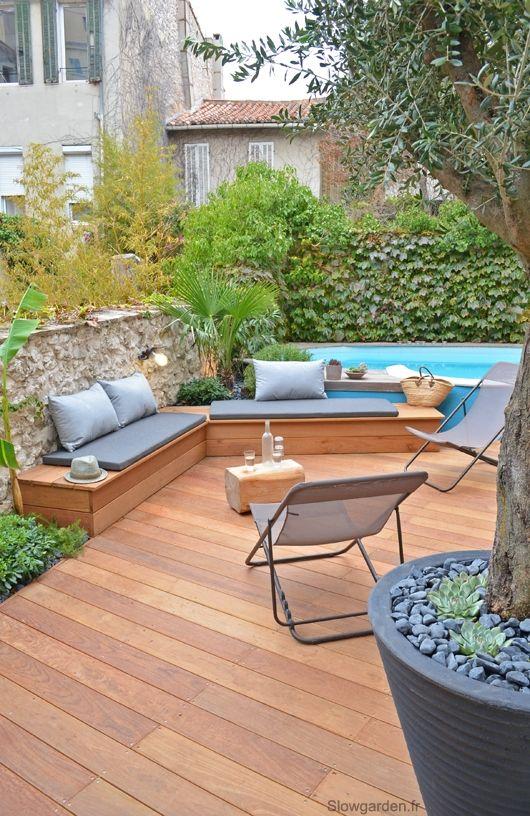 petit jardin avec piscine avant apr s slowgarden. Black Bedroom Furniture Sets. Home Design Ideas