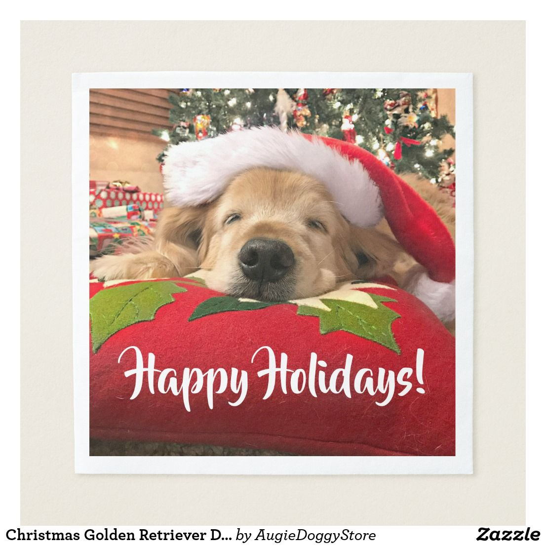 Christmas Golden Retriever Dog Asleep Under Tree Napkin Zazzle