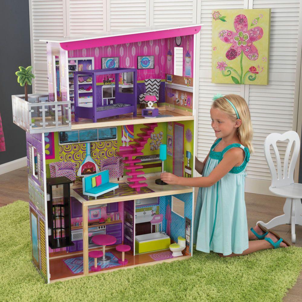 Kids Wooden Barbie Dollhouse Play Set 11 Pcs Of Furniture Super Model For S Kidkraft Modern