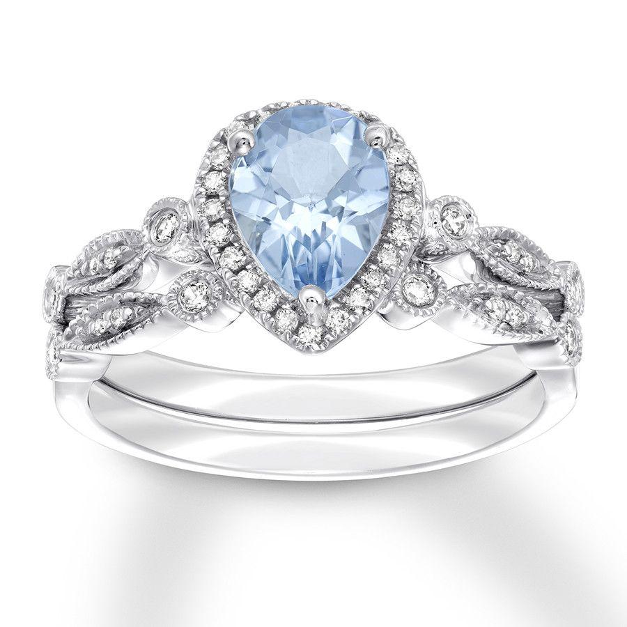 Jared Aquamarine Bridal Set 1 6 Ct Tw Diamonds 14k White Gold Bezel Set Engagement Ring Prong Set Wedding Band White Gold