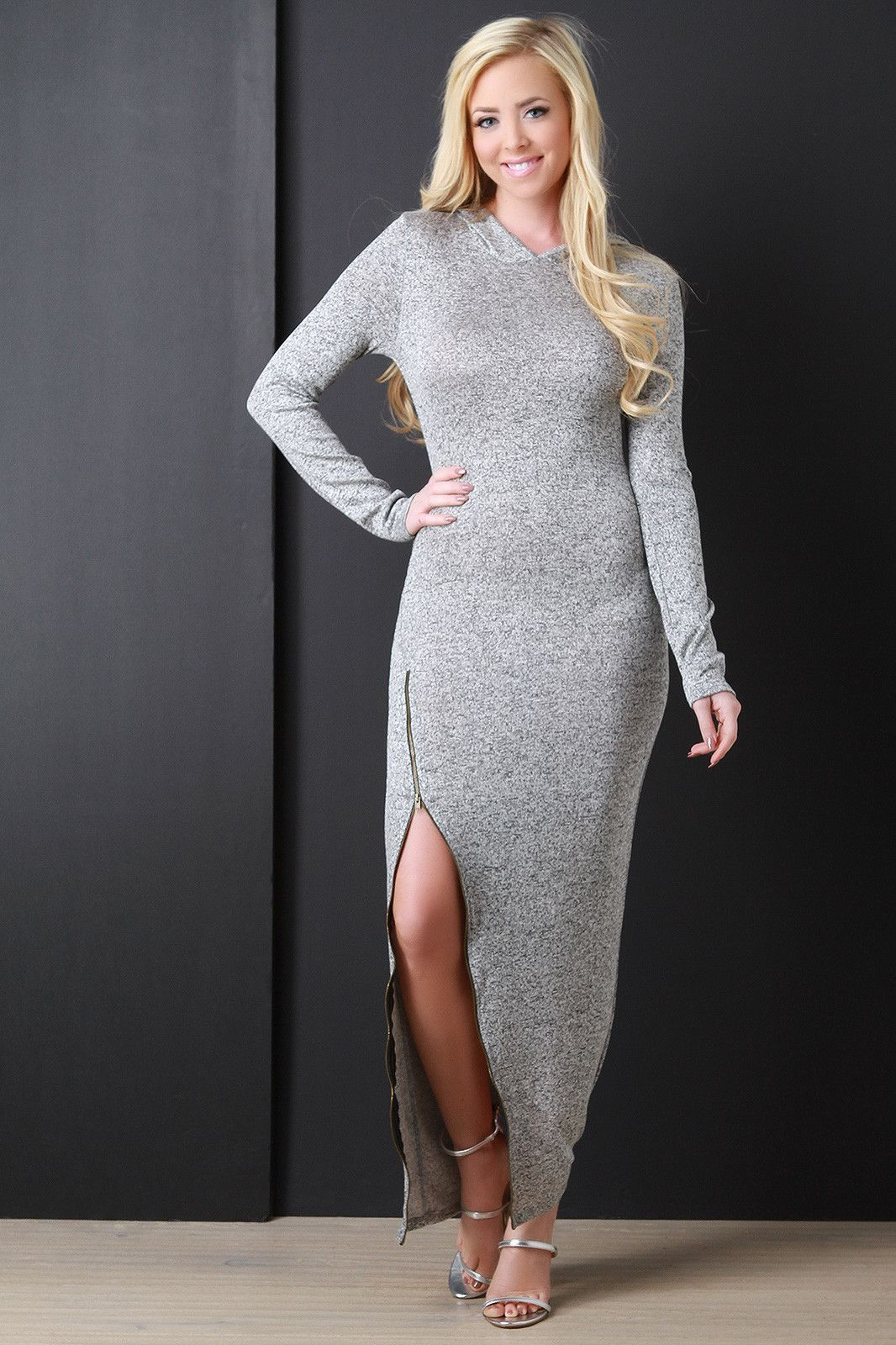 Melange knit hoodie zipper slit dress products pinterest products