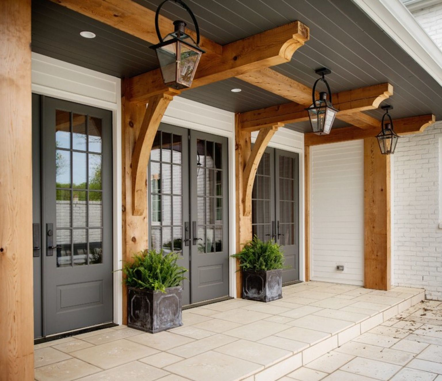 Modern Gray Exterior With Steel Beams: Farmhouse Front Porches