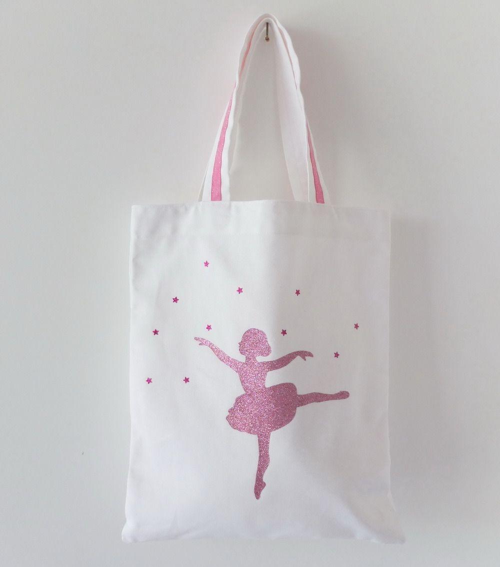 Personnalisé jute Tote Ballet Chaussures Danse Sac Fille Rose Sports École Cadeau