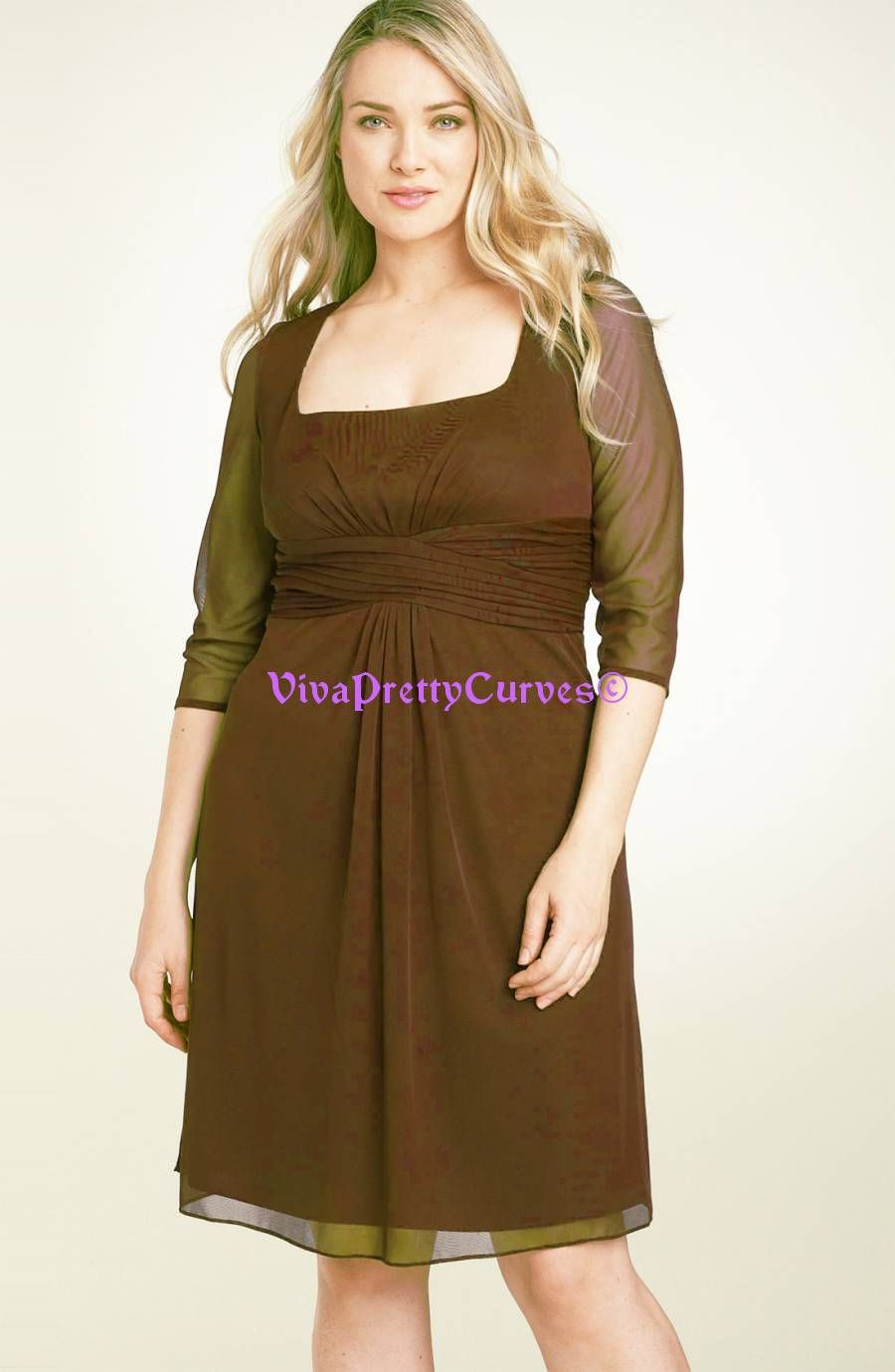 New Coco Brown 3 4 Sleeves Chiffon Cocktail Bridesmaid