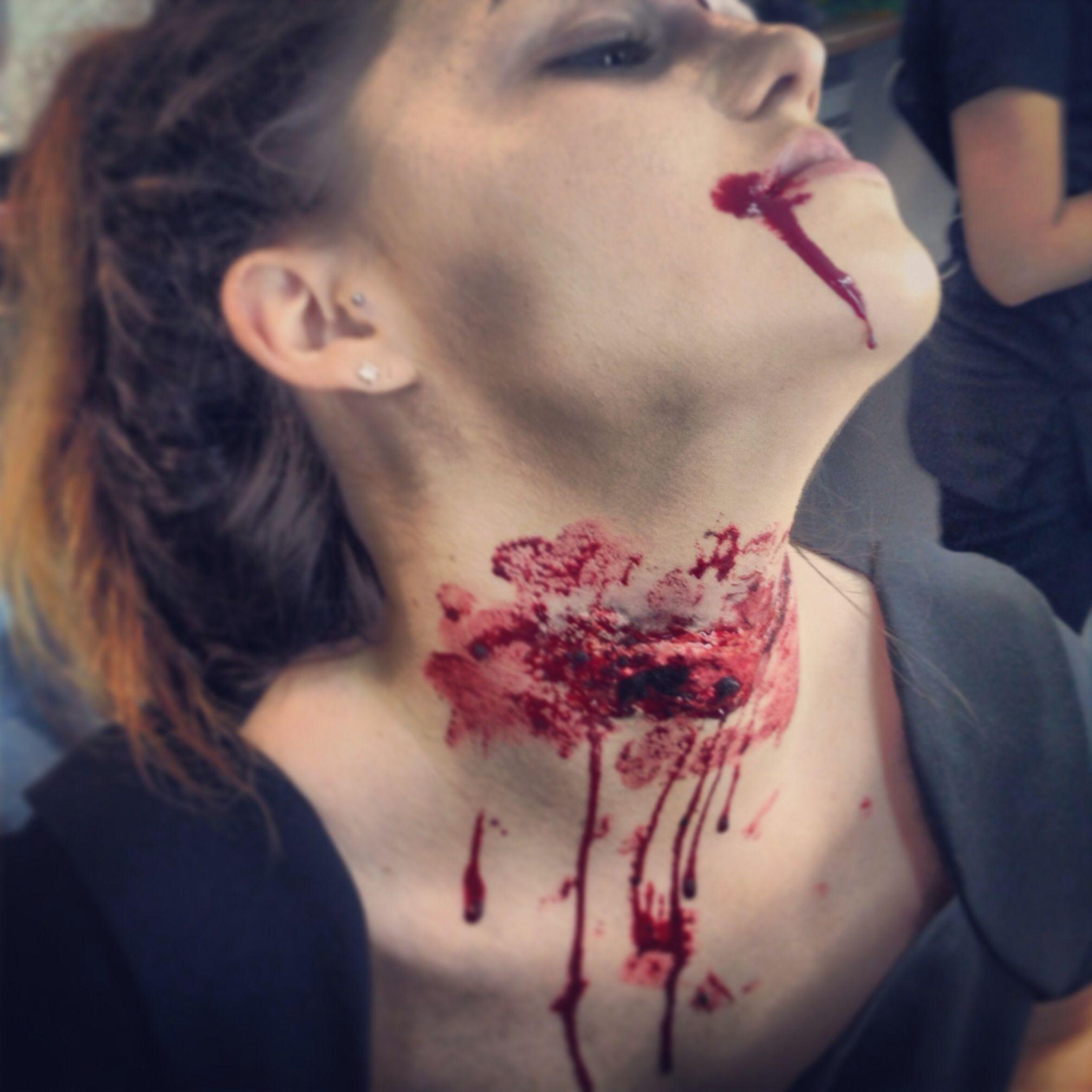 special effects halloween practice slit throat effect - Halloween Effects Makeup