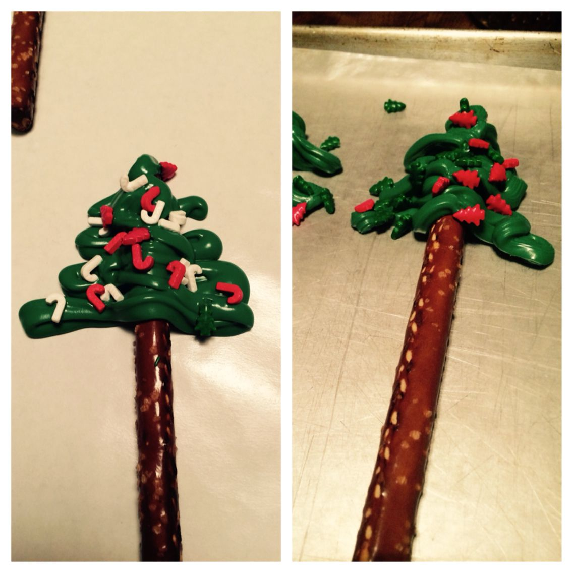 My mom and I decided to get a bit crafty and make little chocolate Christmas trees! super easy and super cute!