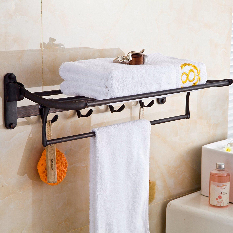 Elloandallo Oil Rubbed Bronze Towel Racks For Bathroom Shelf With