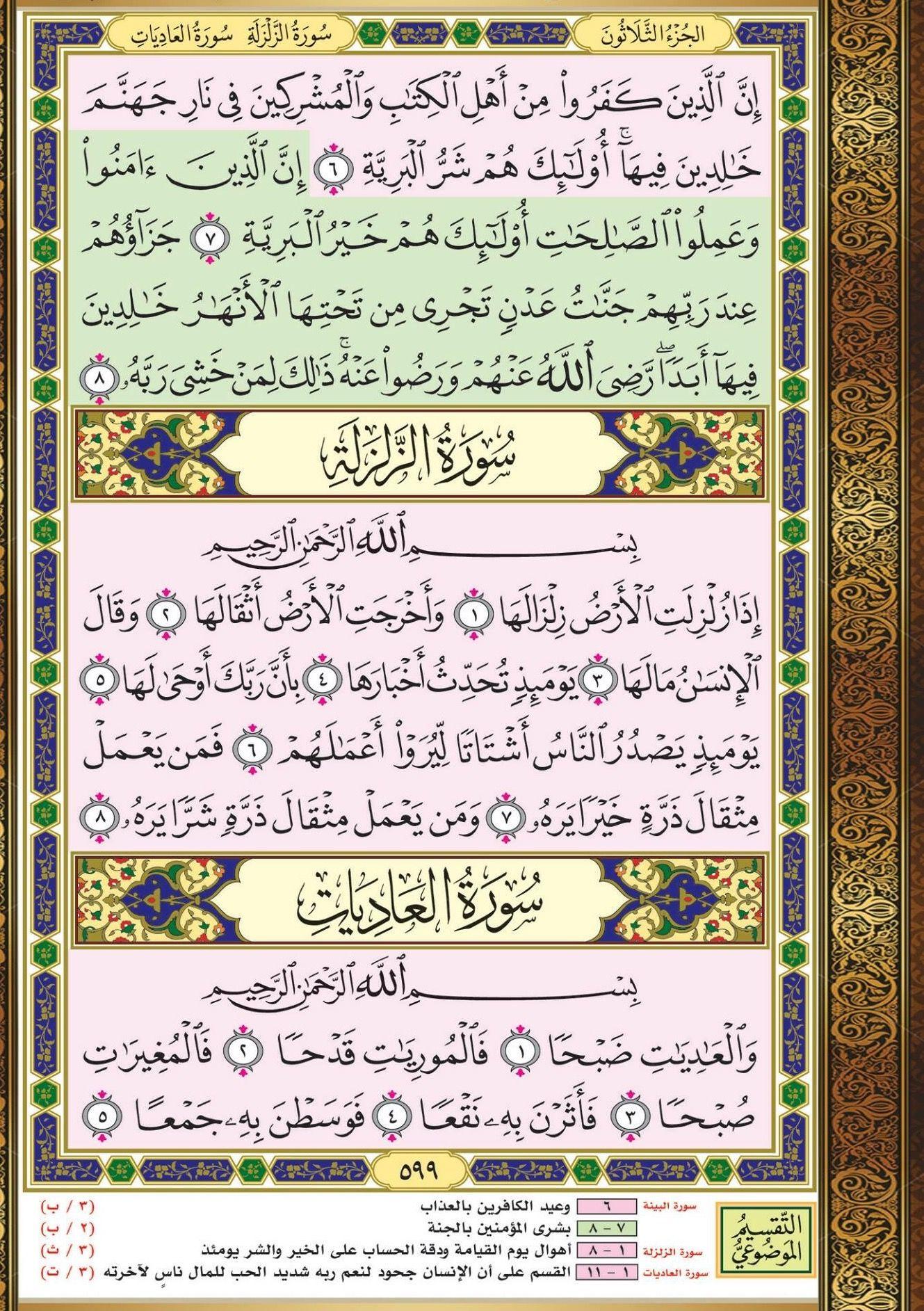 ٦ ٨ البينة مصحف التقسيم الموضوعي Noble Quran All Quran Bullet Journal