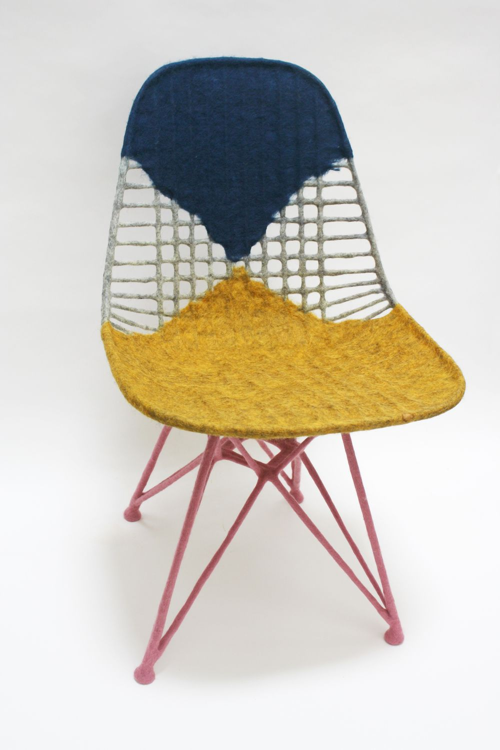 Chair For Ray 2014 Felted Raw Wool On Eames Wire Chair