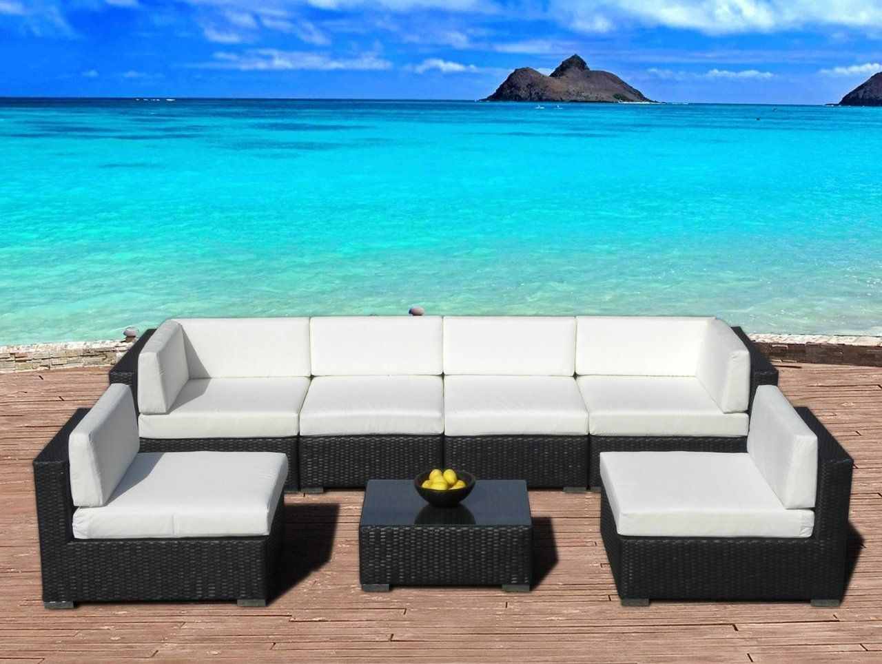 Outdoor Patio Furniture Sofa All Weather Wicker Sectional 7 Pc Resin Couch Set