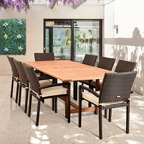 Amazonia Audrey 9 Piece Rectangular Patio Dining Set Brown With Off White  Cushions
