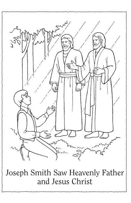 Free lds clipart to color for primary children after the for Coloring page of the first vision