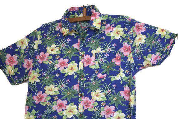 c06e12a0 Vintage Blue Floral ALOHA shirt Men Hawaiian shirt size L Flowers print  summer shirt Cotton short sl