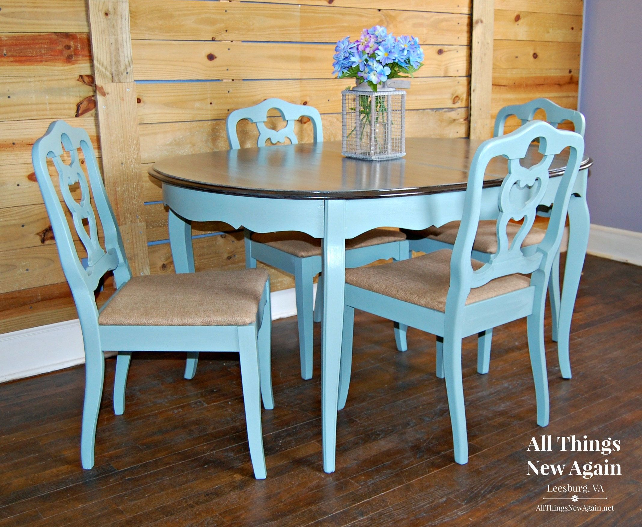 Dining Table And 4 Chairs Dining Set Painted Vintage Duck Egg