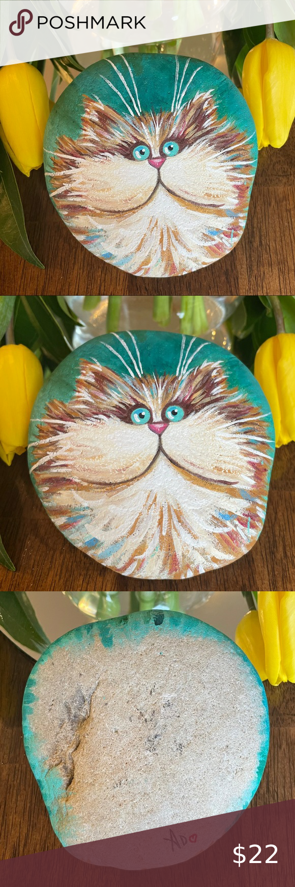 Hand-painted Cat Rock