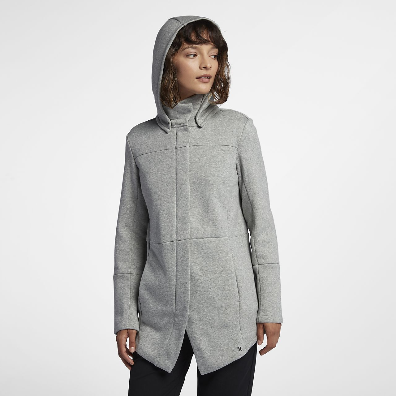 Hurley Womens Winchester Hoodie Asymmetrical Full Zip Fleece