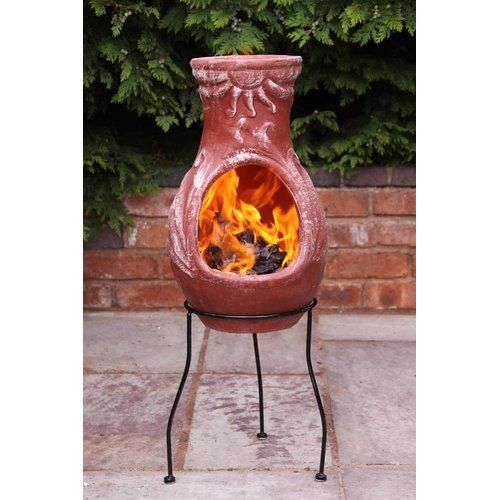 Garden Sunshine Clay Terracotta Log Burner Firepit /& Chimenea Outdoor Heating