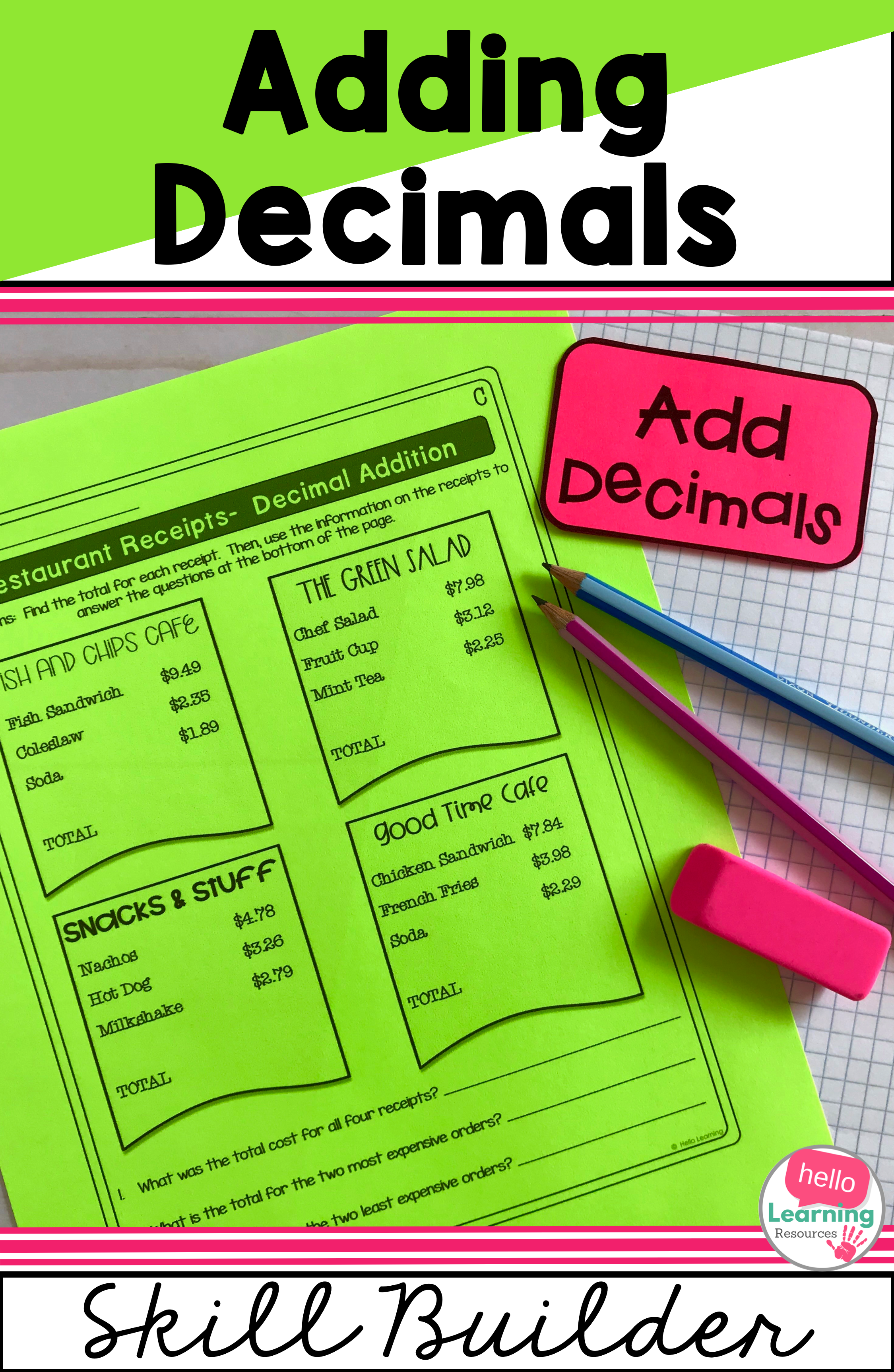 Adding Decimals Worksheets