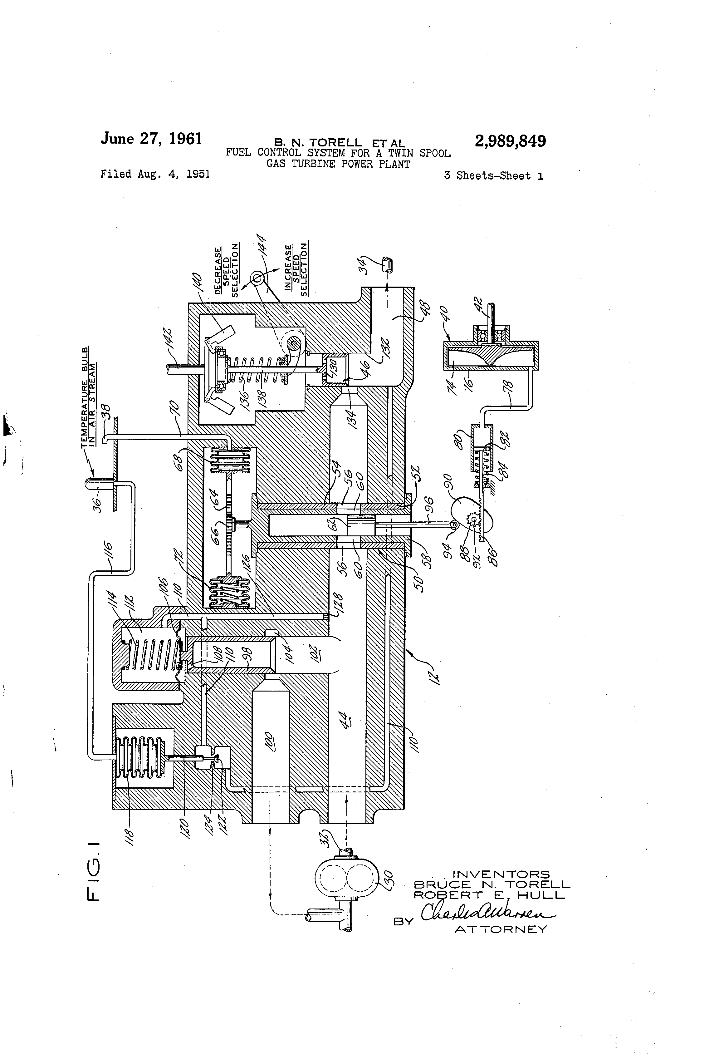 Patent US Fuel control system for a twin spool gas