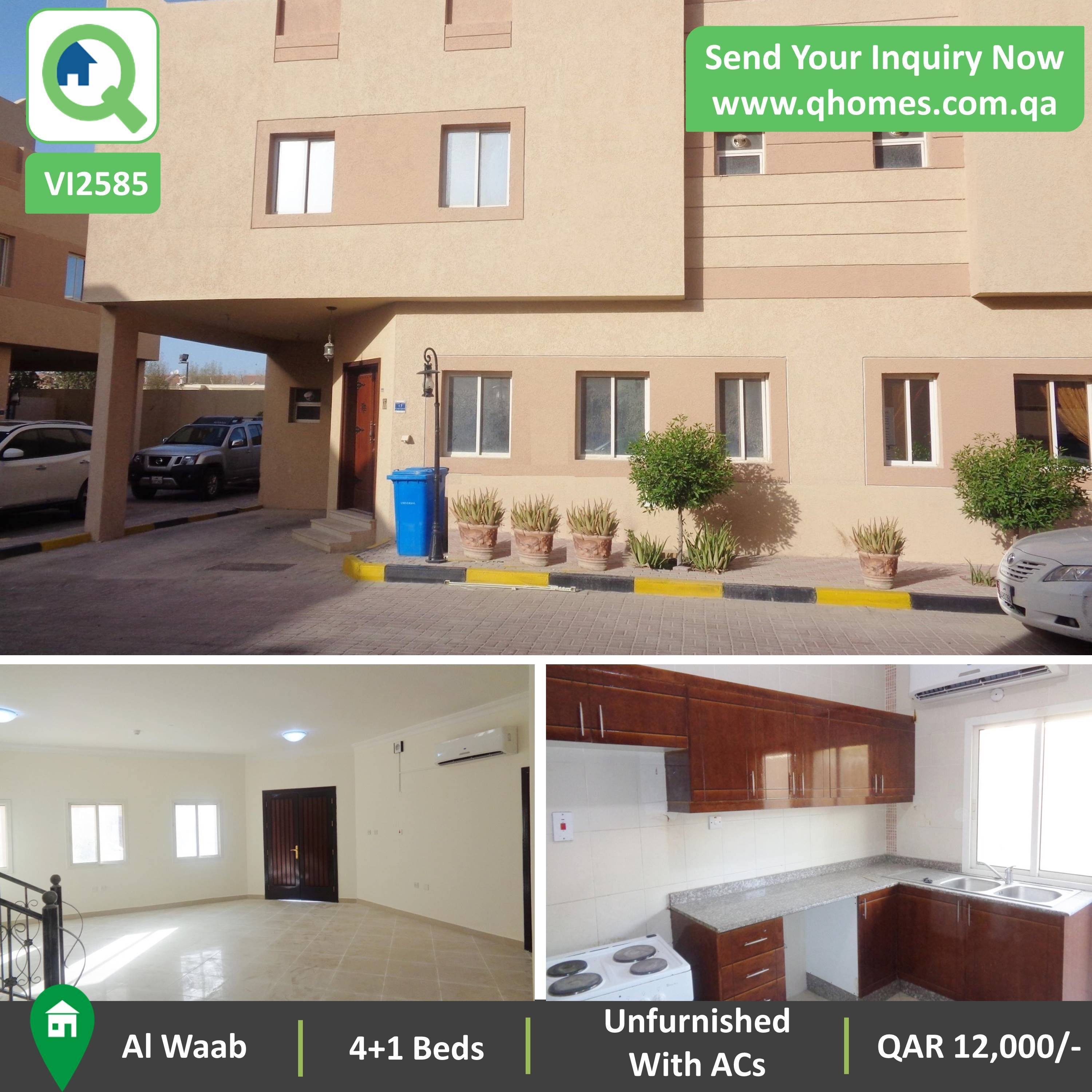 villa for rent in qatar: unfurnished (with acs) 4+1 bedrooms