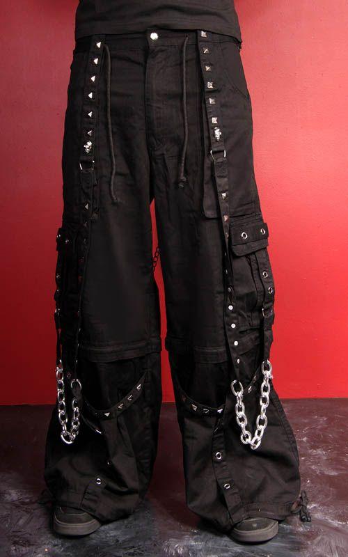 Tripp Pyramid Stud Strap Pants Black Punk Outfits