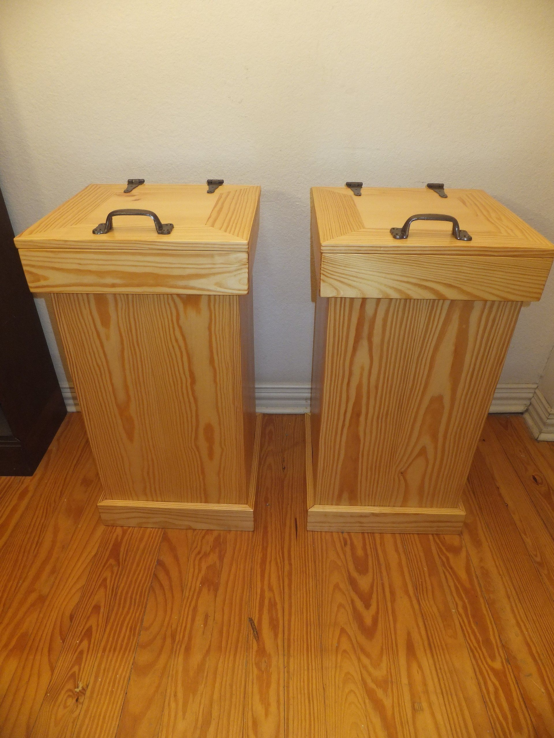 Rustic Wood Trash Can With NO Decor. Handcrafted With Cabinet Grade Pine.  NO DECOR
