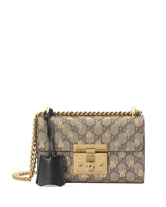 98e7d775c37 Padlock+Small+GG+Supreme+Bees+Shoulder+Bag+by+Gucci+at+Neiman+Marcus ...