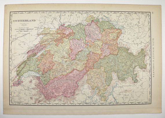 Vintage Switzerland Map 1901 Swiss Alps Mountains Wall Map ...