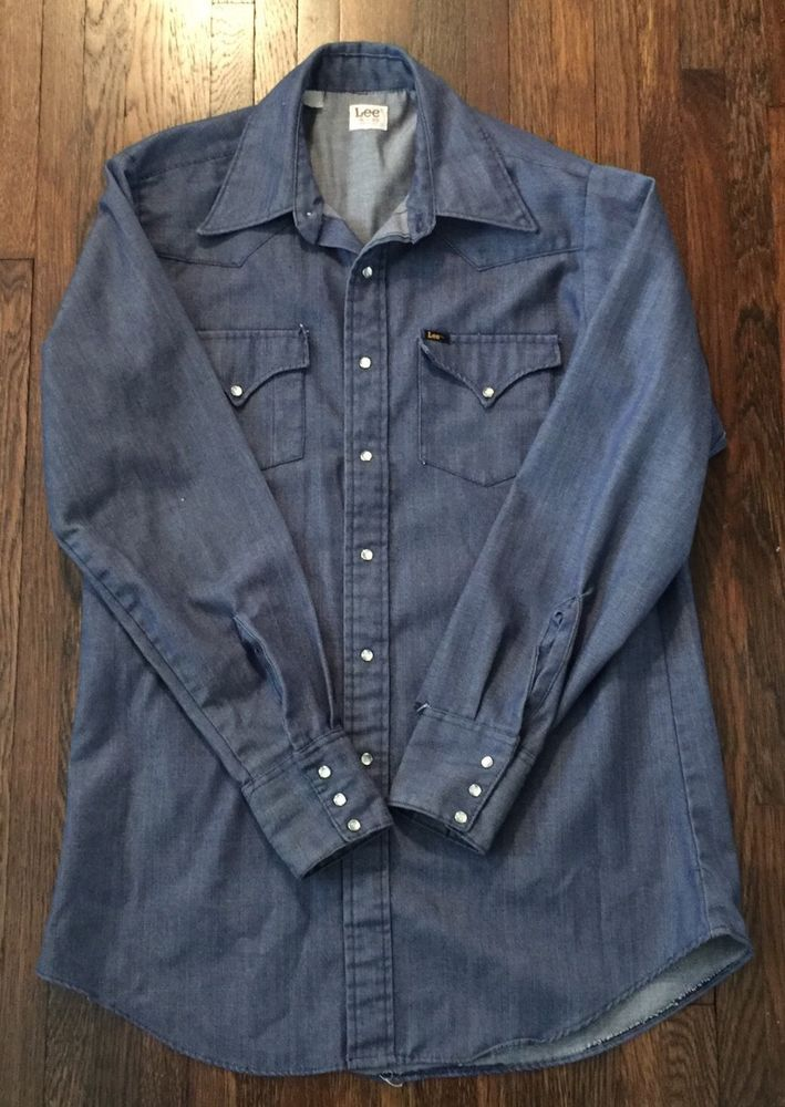 e6212e717b8 Details about Vintage Lee Made In USA Denim Pearl Snap Western Shirt ...