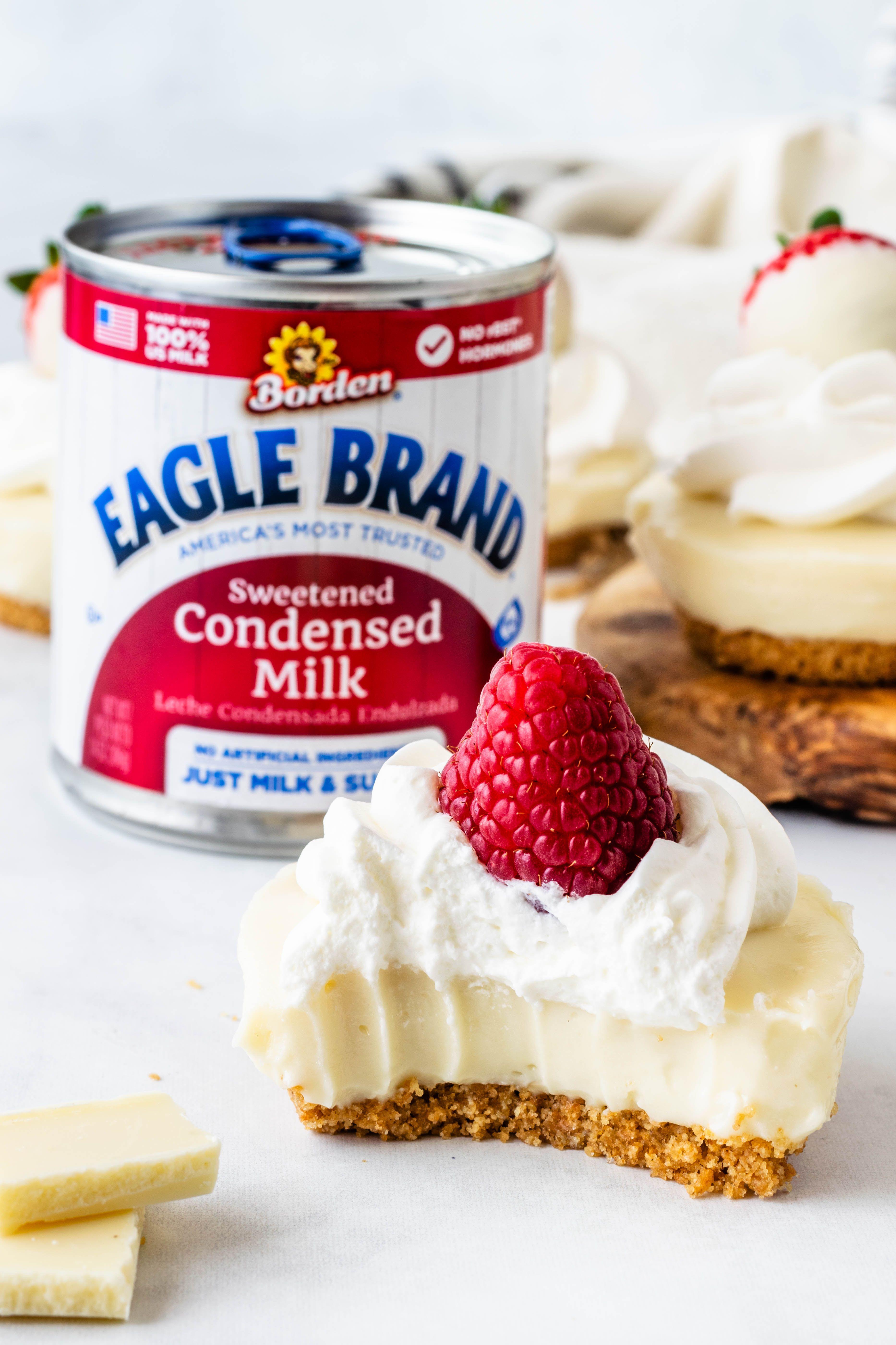 No Bake White Chocolate Cheesecake Recipe In 2020 Condensed Milk Cheesecake Recipes Condensed Milk Recipes Desserts Eagle Brand Cheesecake Recipe