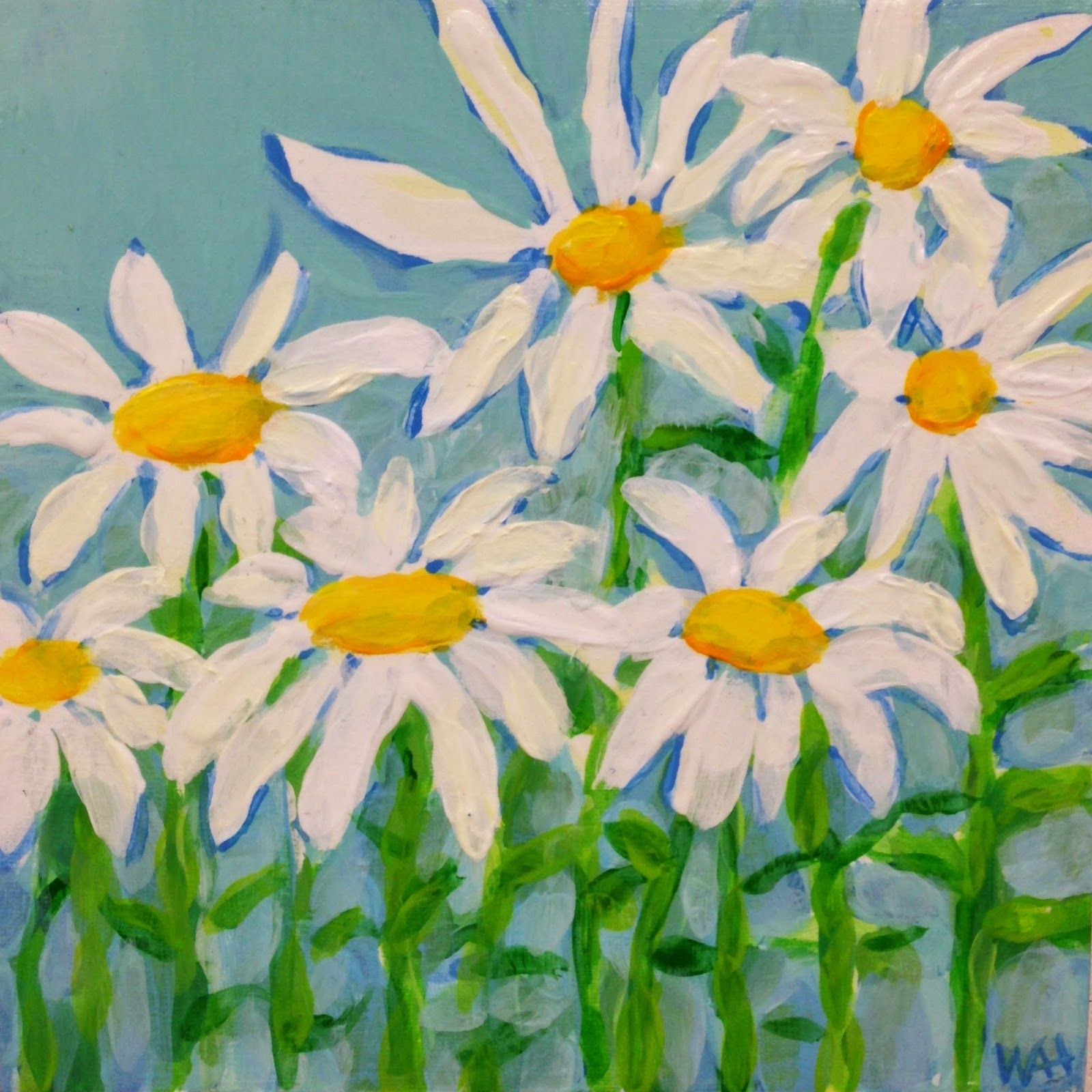 Whitney Alexanderson Heavey Daily Painting #3 Summer Daisies