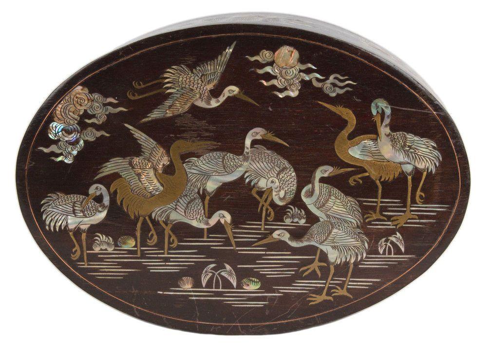 China 20 Holz Kranich Dose A Chinese Oval Hardwood Cranes Box Chinois Cinese Ebay Kranich Ebay Chinese