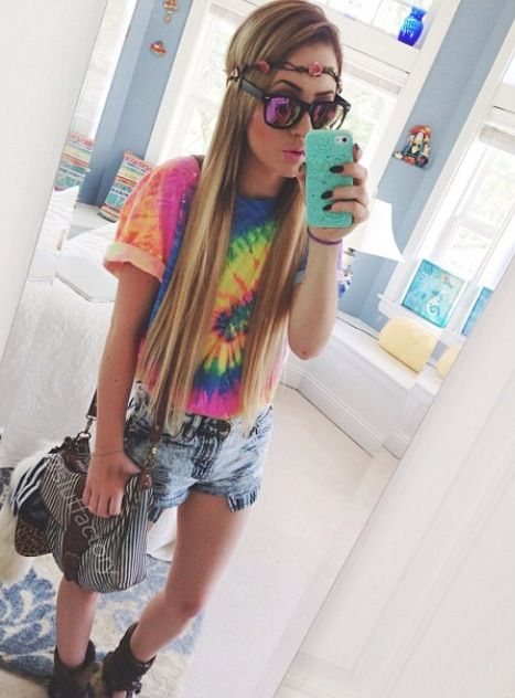 Tie dyed shirt with jean shorts