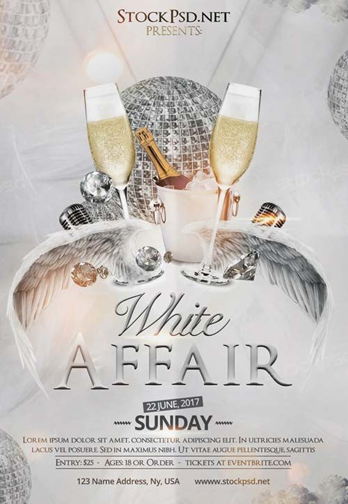 White Affair Party Free Club Flyer Template - http\/\/freepsdflyer - club flyer background