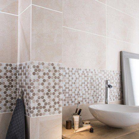 Faïence mur beige, Modena l316 x L632 cm Salle de bain - salle de bain rouge et beige
