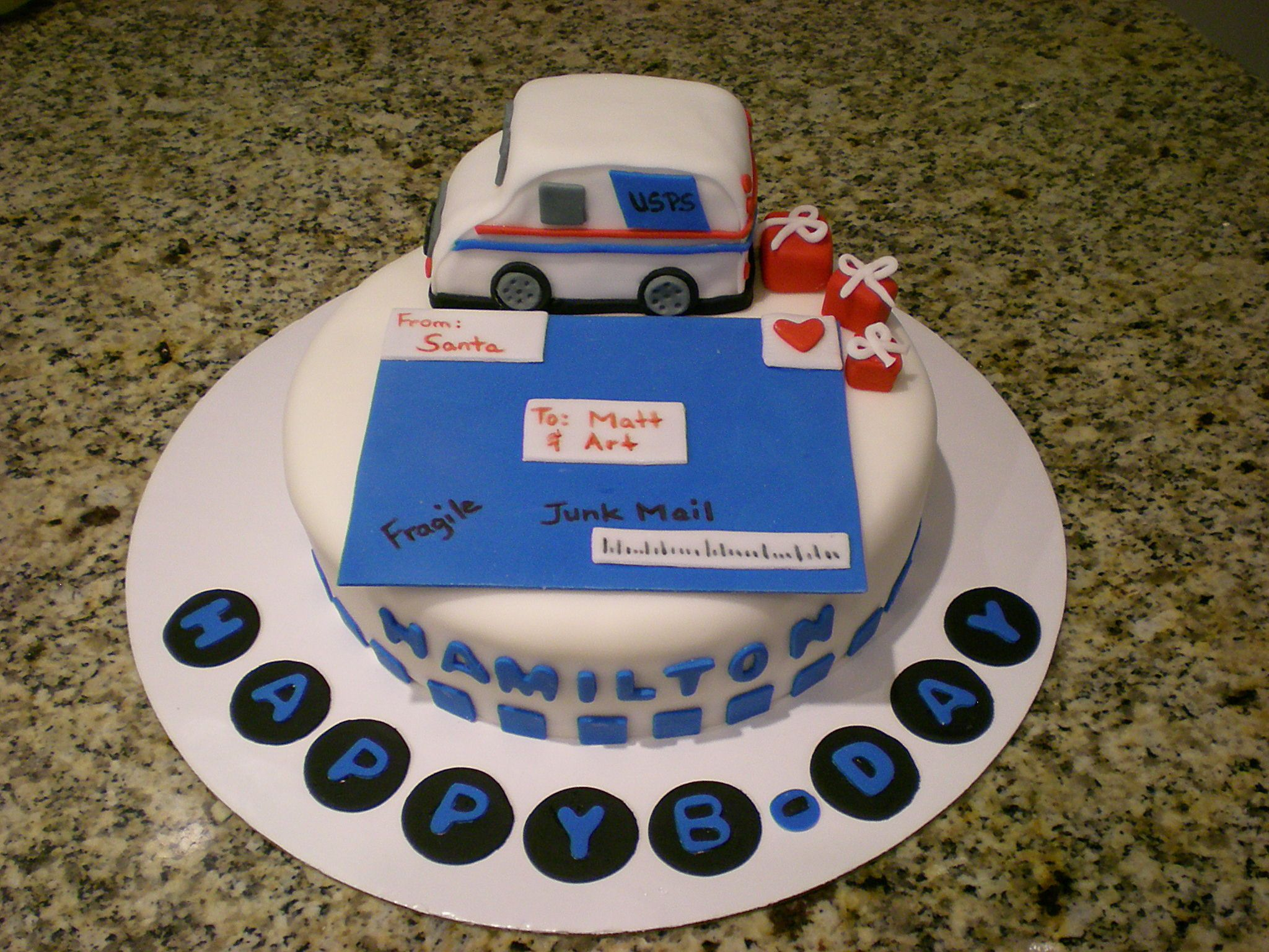 Mail truck cake Thinking of Dad and Uncle Pat Kids birthday