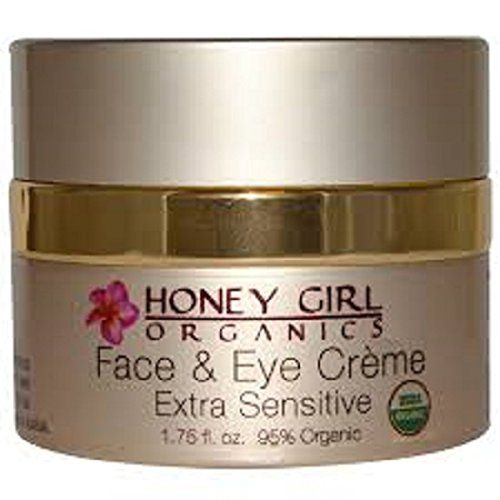 Organic Face & Eye Cream Extra Sensitive - 1.75 oz. by Honey Girl Organics (pack of 4) Alpha Skin Care Intensive Rejuvenating Facial Serum, 2 Oz